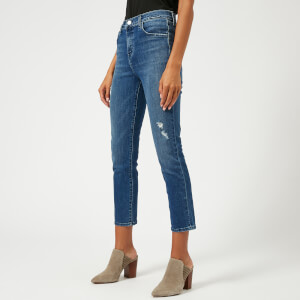 J Brand Women's Ruby High Rise Cropped Jeans with Distress - Mystic