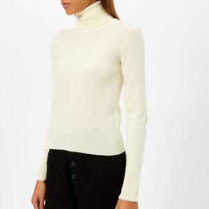 MM6 Maison Margiela Women's High Neck Wool Jumper with Elbow Patches - Off White