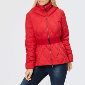 Armani Exchange Women's Short Quilted Hooded Coat - Bloody Mary
