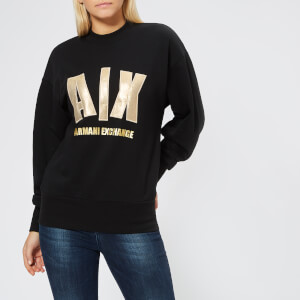 Armani Exchange Women's Foil Logo Sweatshirt - Black