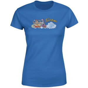 The Flintstones Family Car Distressed Dames T-shirt - Blauw