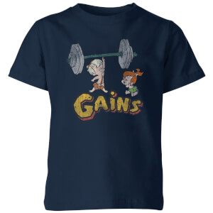 The Flintstones Bamm-Bamm Gains Distressed Kinder T-shirt - Navy