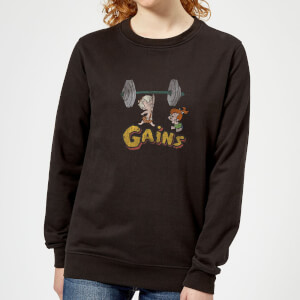 The Flintstones Bamm-Bamm Gains Distressed Dames Trui - Zwart