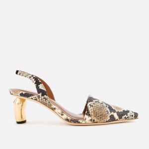 Rejina Pyo Women's Conie Slingback Heeled Mules - Snake Beige Upper/Gold Heel