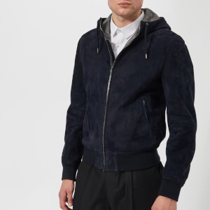 Herno Men's Suede Hooded Bomber Jacket - Navy