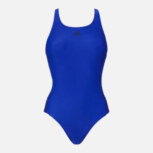 adidas Women's Essential 3 Stripe 1 Piece Swimsuit - Hi Res Blue
