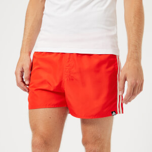 adidas Men's 3 Stripe Swim VSL Shorts - Hi Res Red