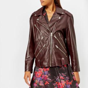 McQ Alexander McQueen Women's Zip Biker Jacket - Cherry