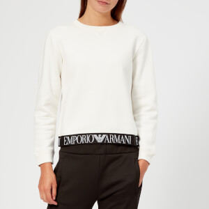 Emporio Armani Women's Logo Bottom Trim Sweatshirt - White