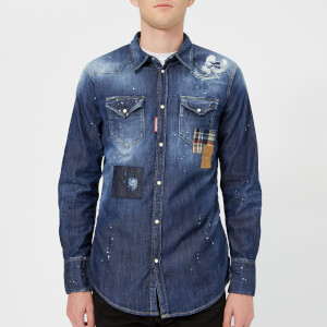 Dsquared2 Men's Patch Bleached Light Wash Western Shirt - Blue