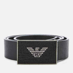 Emporio Armani Men's Plate Belt - Black