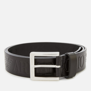 Emporio Armani Men's Embossed Logo Belt - Nero