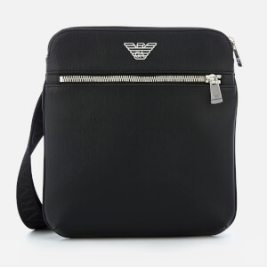 Emporio Armani Men's Small Flat Logo Messenger Bag - Black