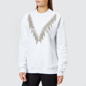 MSGM Women's Crystal Detail Sweatshirt - White