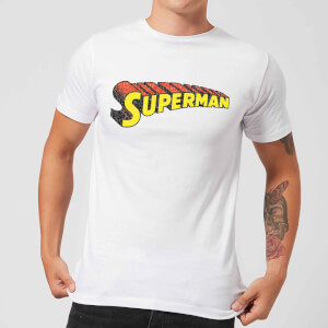 DC Superman Telescopic Crackle Logo Men's T-Shirt - White