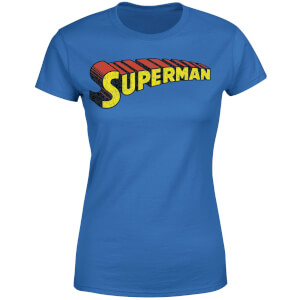 DC Superman Telescopic Crackle Logo Women's T-Shirt - Royal Blue