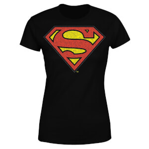 DC Originals Official Superman Crackle Logo Dames T-shirt - Zwart