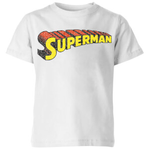 DC Superman Telescopic Crackle Logo Kids' T-Shirt - White