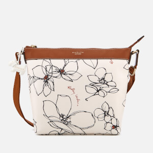 Radley Women's Linear Flower Medium Zip-Top Cross Body Bag - Chalk