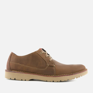 Clarks Men's Vargo Plain Leather Derby Shoes - Dark Tan