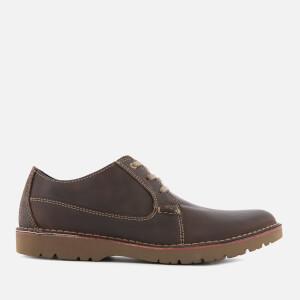 Clarks Men's Vargo Plain Leather Derby Shoes - Dark Brown
