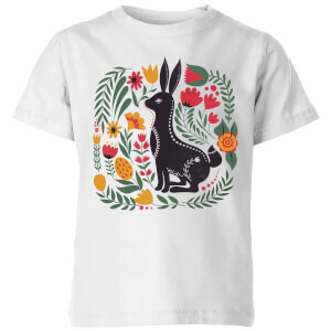 My Little Rascal Scandi Rabbit Pattern Kids' T-Shirt - White
