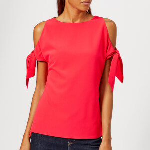 Ted Baker Women's Yaele Tie Sleeve Cold Shoulder Top - Bright Red