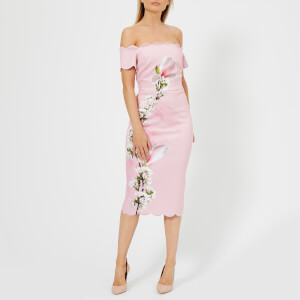 Ted Baker Women's Olyva Pink Harmony Scallop Bodycon Dress - Pl-Pink
