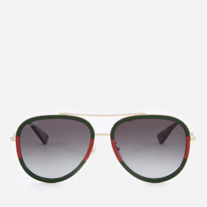 Gucci Women's Metal Aviator Sunglasses - Gold/Green