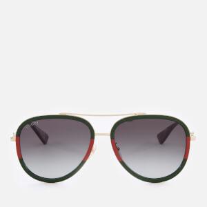 Gucci Women's Metal Aviator Sunglasses - Gold/Green
