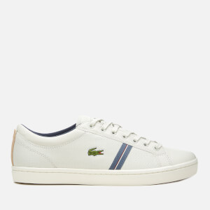 Lacoste Men's Straightset Sport 318 1 Leather Trainers - Off White/Natural