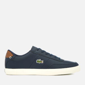 Lacoste Men's Court-Master 318 2 Leather Vulcanised Trainers - Navy/Brown