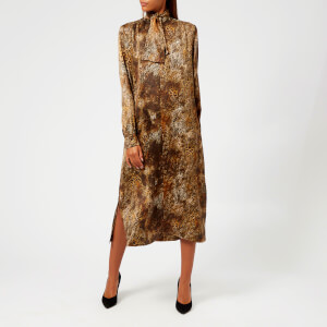 Saks Potts Women's Poppy Animal Dress with Ribbon - Brown