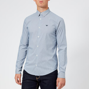 Emporio Armani Men's Small Logo Long Sleeve Shirt - Riga Blue