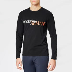 Emporio Armani Men's Large Logo Long Sleeve T-Shirt - Black