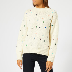 KENZO Women's Embroidered Knit Jumper with Gems - White