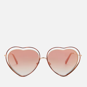 Chloe Women's Poppy Love Heart Frame Sunglasses - Havana/Brown Peach