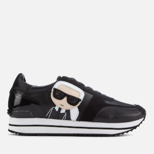 Karl Lagerfeld Women's Velocita II Leather/Suede Karl Ikonic Meteor Lace Runner Trainers - Black