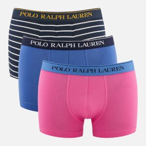 Polo Ralph Lauren Men's 3 Pack Classic Trunks - Charm Pink/Indian Sky/Navy/White Stripe