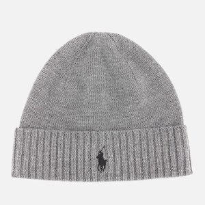 Polo Ralph Lauren Men's Merino Wool Beanie Hat - Fawn Grey Heather