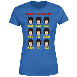 Bobs Burgers The Many Faces Of Tina Women's T-Shirt - Royal Blue