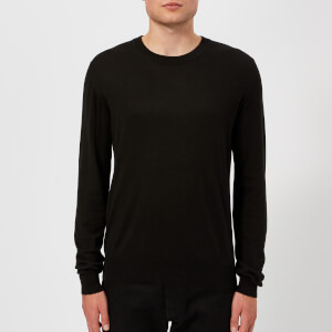 Maison Margiela Men's Gauge 14 Jersey Crew Neck Elbow Patches Decortique Jumper - Black