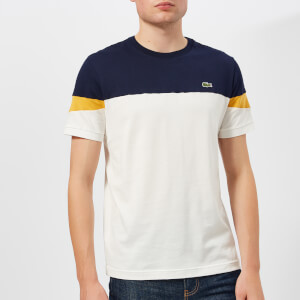 Lacoste Men's Colour Block Contrast Sleeve T-Shirt - Navy/White/Yellow