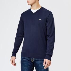 Lacoste Men's Cotton V Neck Knitted Jumper - Navy Blue/Flour