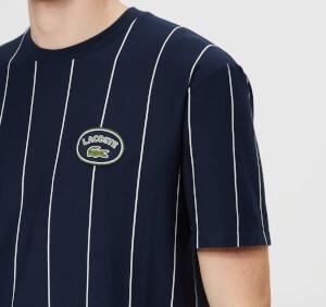 Lacoste Men's Vertical Stripe/Patch Logo T-Shirt - Navy/White: Image 4