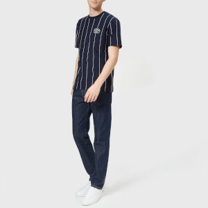 Lacoste Men's Vertical Stripe/Patch Logo T-Shirt - Navy/White: Image 3
