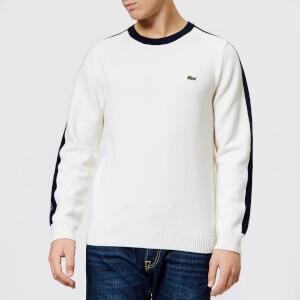 Lacoste Men's Made in France Shoulder Tape Knitted Jumper - Flour/Navy Blue