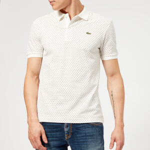 Lacoste Men's Geometric Print Polo Shirt - Flour/Navy Blue