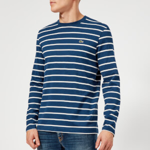 Lacoste Men's Long Sleeve Breton Stripe T-Shirt - Matelot Chine/Flour