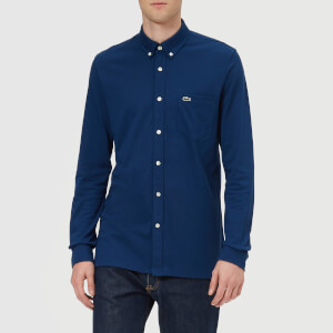 Lacoste Men's Pique Long Sleeve Shirt - Inkwell